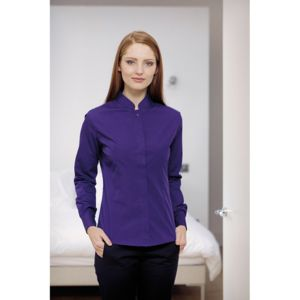 Women's mandarin collar shirt long-sleeved (tailored fit) Thumbnail