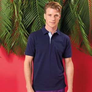 Cotton polo with Oxford fabric insert Thumbnail